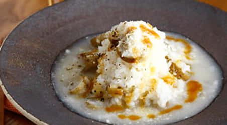 ごぼうとパルミジャーノの味噌チーズリゾット