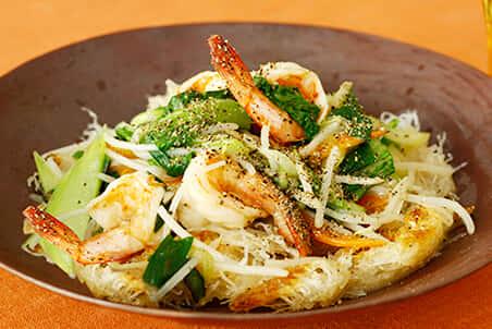 カリカリ揚げ焼きビーフン 味噌野菜炒め乗せ