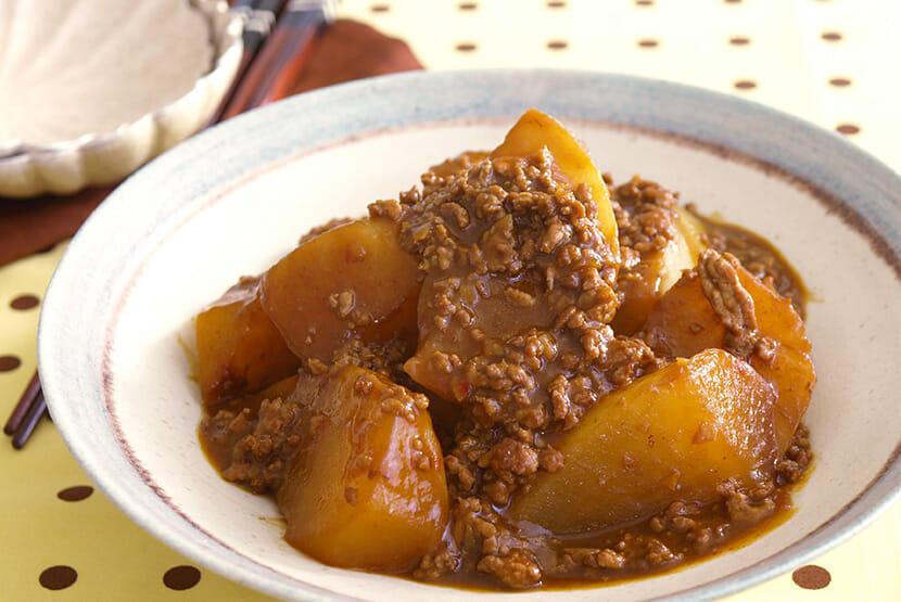 大根と豚挽き肉のピリ辛おかず煮
