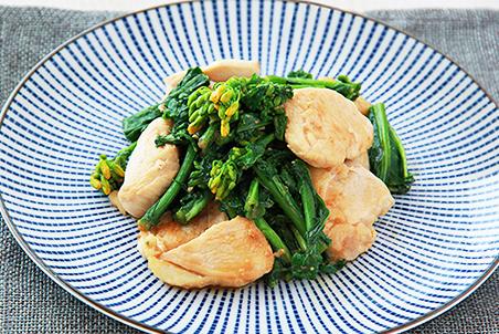 鶏むね肉と菜の花のみそ炒め
