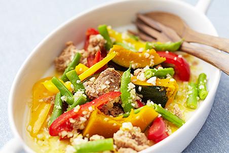 大豆のお肉とカラフル野菜のマリネ