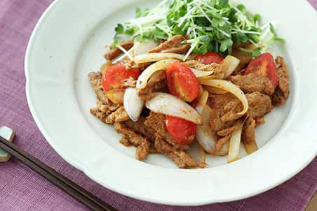大豆のお肉とトマトのしょうが焼き