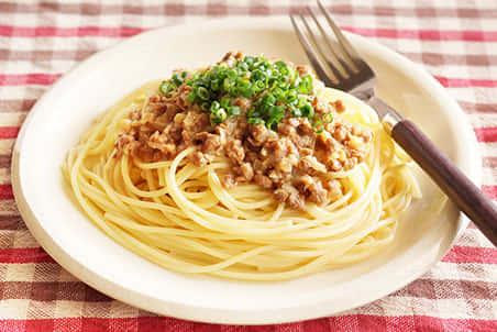 大豆のお肉の肉みそスパゲッティ