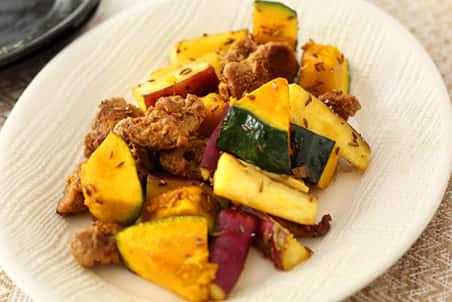 大豆のお肉と彩り野菜のクミンソテー