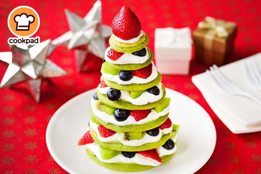 糀甘酒抹茶パンケーキのクリスマスツリー