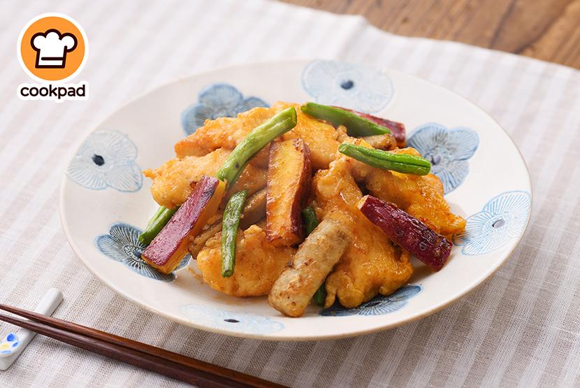 鶏肉と根菜の彩りきんぴら