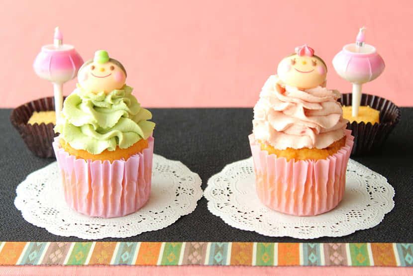 大豆粉のひなまつりカップケーキ