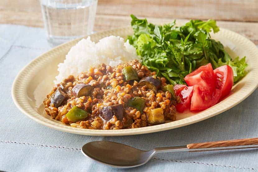 レンジで!大豆のお肉のなすキーマカレー