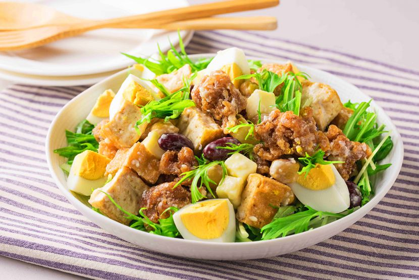 たんぱく質たっぷり大豆のお肉のから揚げサラダ