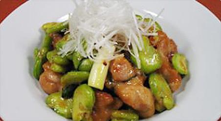 そら豆と鶏肉の味噌炒め