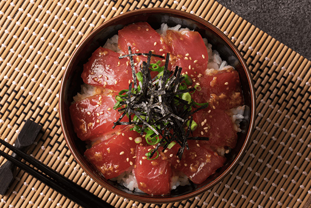 Maguro-Don (Tuna Sashimi Bowl) with Shoyu-koji