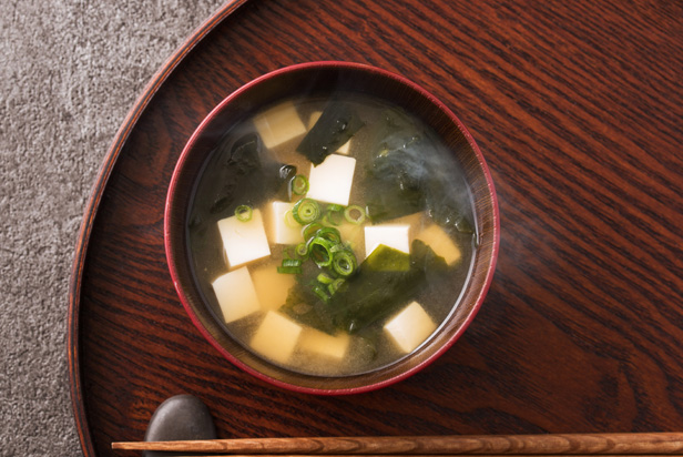 Basic Miso Soup With Wakame Seaweed and Tofu