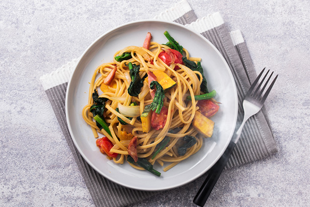 Miso Pasta with Bacon and Vegetables