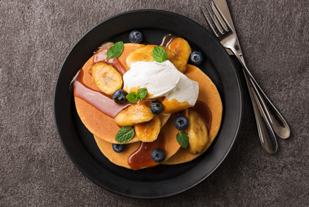 Gluten Free Pancake with Banana and Berries