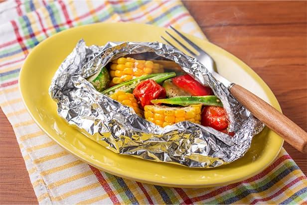 Summer Vegetables Steamed in Foil