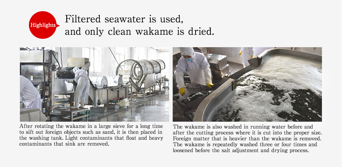 Highlights. Filtered seawater is used, and only clean wakame is dried. After rotating the wakame in a large sieve for a long time to sift out foreign objects such as sand, it is then placed in the washing tank. Light contaminants that float and heavy contaminants that sink are removed. The wakame is also washed in running water before and after the cutting process where it is cut into the proper size. Foreign matter that is heavier than the wakame is removed. The wakame is repeatedly washed three or four times and loosened before the salt adjustment and drying process.
