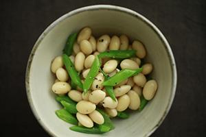 ゆで大豆とインゲン